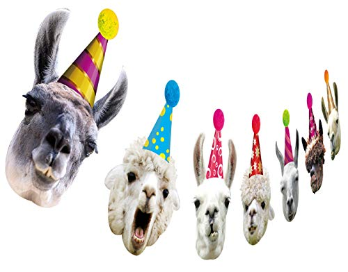 Llama Birthday Garland, Funny Alpaca Face Portrait Bunting, Hilarious Bday Party -