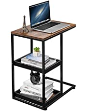 Industrial C Shaped Side Table with Storage Shelves, Mobile End Table Bedside Table Laptop Printer Desk C Table with 2 Tier Trays for Sofa Couch Living Room, Bedroom