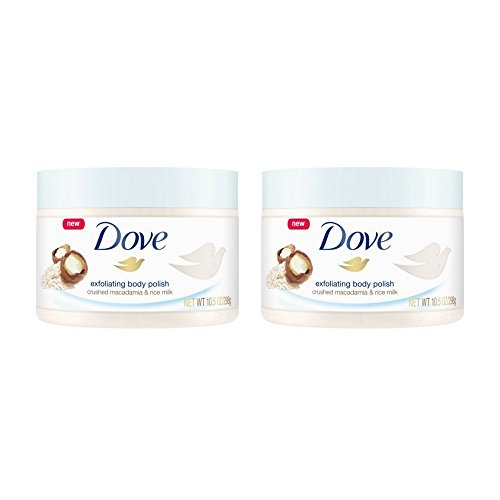 Dove Exfoliating Body Polish Body Scrub Macadamia & Rice Milk 10.5 oz (2 pack)