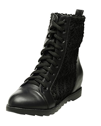 Passionow Women New Style Beautiful Increased Within Lace Up Mesh Boots(5 B(M)US, Black)