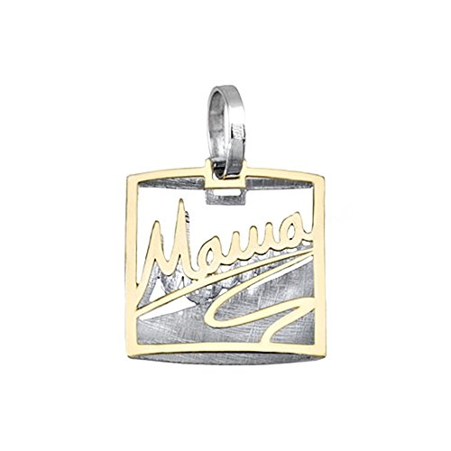 Pendentif or 18k bicolor carré MOM [AA4599]