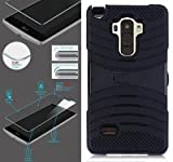 [ NP ARMOR ] Premium Tempered GLASS Screen Protector + uBLACK/BLACK Phone Case For LG G Stylo / Stylus / LS770 / H631