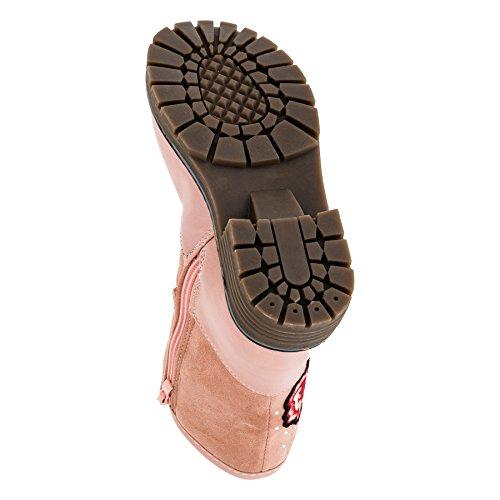 Eva Moda Gefütterte Kuschelige Mädchen Boots Stiefel in Vielen Farben mit Rosenmuster #268rs Rosa