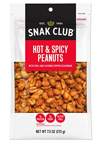 Snak Club All Natural Hot & Spicy Peanuts, Gluten Free, Non-GMO, 7.5-Ounces , - Peanuts Spicy