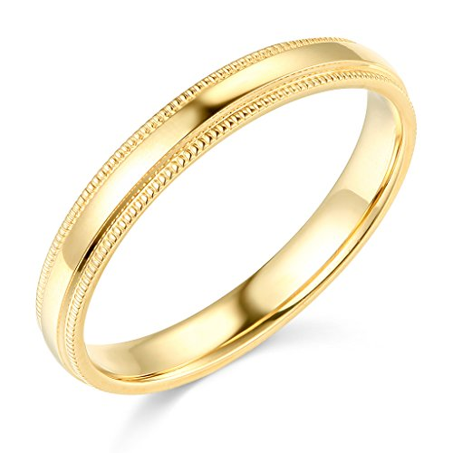 14k Yellow Gold 3mm Plain Milgrain Wedding Band - Size - Overnight Shopping Shipping Online