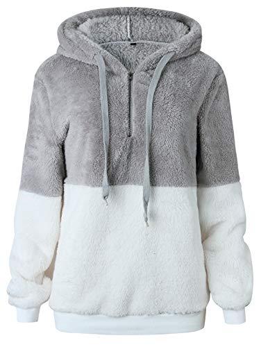 TEMOFON Women's Long Sleeve Zipper Casual Hooded Sweatshirt Sherpa Pullover Winter Outwear Jackets Coats Sweaters Light Grey M