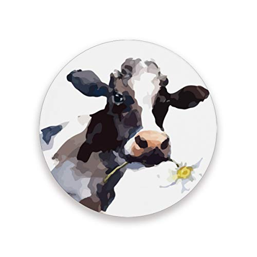 Cow Sunflower Watercolor Ceramic Coasters for Drinks,Round 4 Piece Coaster Set