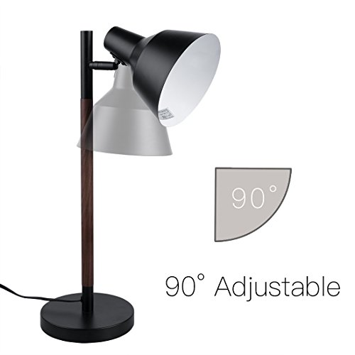 Yepran 22'' Table Desk Lamp Modern Natural Solid Walnut Wood Body and Flexible Heavy Metal Lampshade Suitable for Book Room, Bedroom and Sitting Room (Metal & Wood) by Yepran (Image #1)