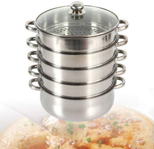 Marmite vapeur 5 étages en acier inoxydable robuste de qualité alimentaire avec couvercle en verre, cuisson vapeur 26 cm
