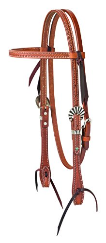 (Turquoise Cross Sunburst Tooled Browband Headstall)