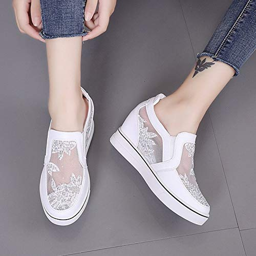 Summer ZHZNVX White Bout Blanc Compensé Argent Comfort Sneakers Polyuréthane Chaussures Rond PU Talon Femme IWUqI6r