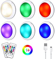 Rechargeable Puck Lights, Under Cabinet Lights, RGB Dimmable LED Cupboard Lighting Night Lights with 16 Colors, 3...
