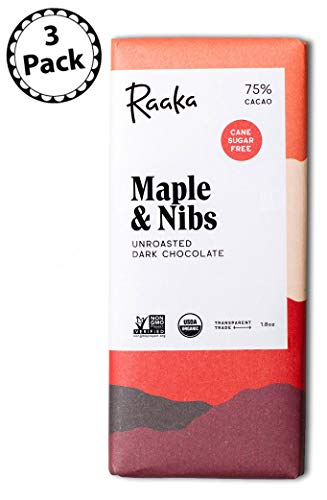 Raaka Chocolate Maple & Nibs Dark Chocolate 75% Cacao (1.8oz Bar - 3 Pack), Organic, Non-GMO, Kosher Premium Craft Artisan Chocolate, Vegan, Gluten and Soy Free, Bittersweet, Bean-to-Bar Chocolate