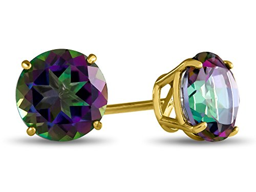 - Finejewelers 14k Yellow Gold 7mm Round Mystic Topaz Post-With-Friction-Back Stud Earrings