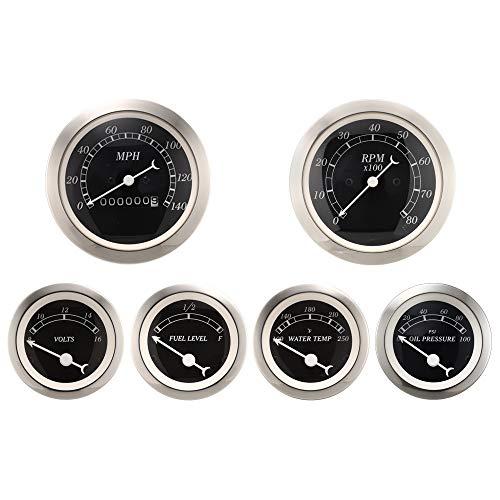MOTOR METER RACING 6 Gauge Set Classic Instruments Mechanical Speedometer Analog Odometer Black Dial