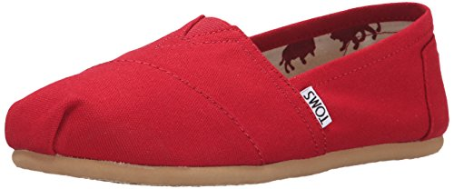 TOMS Women's Classic Canvas Slip-on,Red,10 M