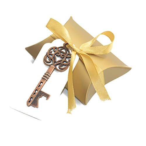 Aokbean 50pcs Vintage Skeleton Key Bottle Openers Wedding Favor Souvenir Gift Set Pillow Candy Box Escort Thank You Tag French Ribbon (Antique Copper)