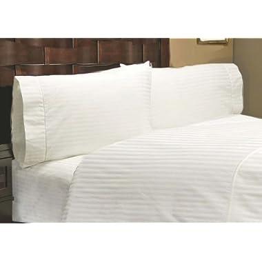 600 Thread Count 100% Egyptian Cotton Stripe White King 24  Deep Pocket Sheet Set