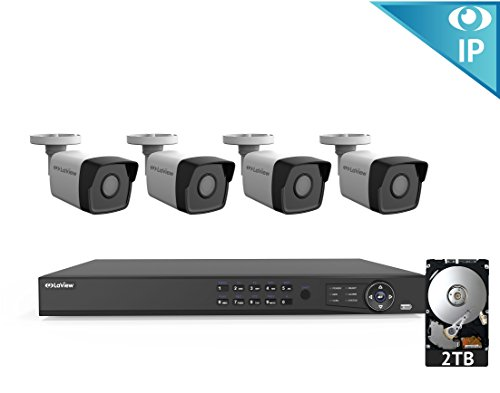 LaView 8 Channel 1080p Home Security System with 4 1080p Bullet Cameras, 2TB Storage - Outdoor weatherprood IP Poe Surveillance Cameras, 100ft Night Vision - LV-KN988P84A4-T2 - Eagle Vision Control