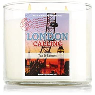Bath & Body Works London Calling 3 Wick 14.5 Oz Candle with Decorative Lid Lemon Tea