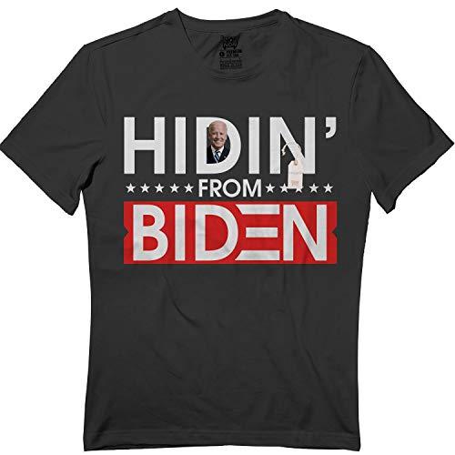 wintertee Hiding from Biden for President 2020 Funny Political Tshirt Black