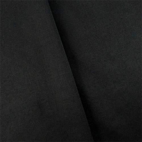 Obsidian Black Wool Blend Gabardine, Fabric by The Yard