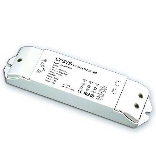 0-10V Intelligent Dimmable LED Driver Anolog Dimming Signal to Constant Voltage 36W PWM Controller 5 in 1 Dimming 1-10V / PWM / RX CC Push Dim (24V DC 36W) ()