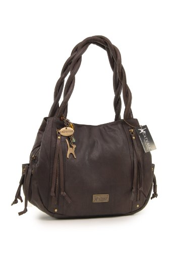 "Borsa tote in pelle di Catwalk Collection""Caz"" Marrone Scuro"