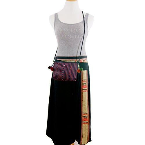 Bohemian Life Red Small Cloth Handmade Crossbody Black Bloomy Zippered Bag amp; f4wPdn5Ox