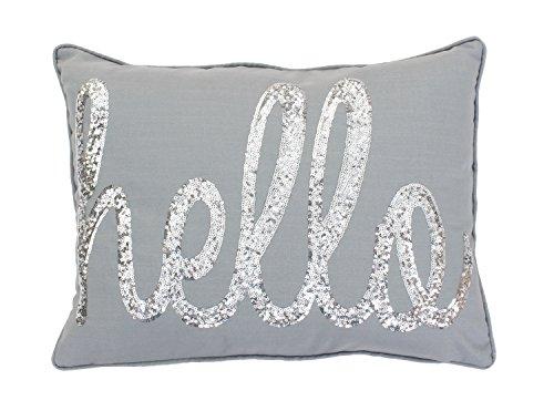 Thro by Marlo Lorenz TH008461024E Hello Sequin Script Faux Linen Pillow -