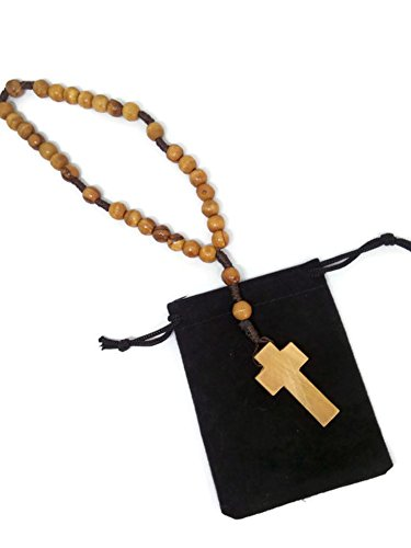 Threaded Olive Wood Anglican Rosary | Brown Rope Twine | Hand Made in Bethlehem (7 mm beads)