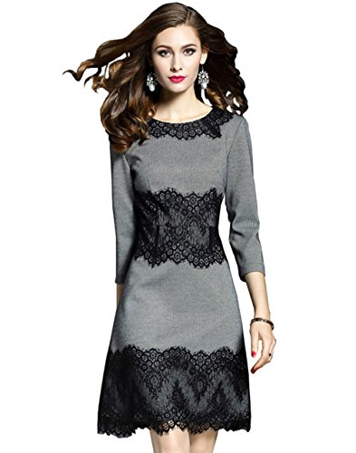 LANRUO Fashion Women's 3/4 Sleeve Lace Cotton Colorblock Cocktail Formal Dress (10,Asian...