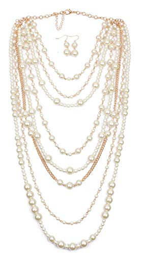 Shineland Multilayer Strand Simulated Faux Pearl Statement Long Sweater Chain Necklace And Earrings Set (Style # 1)