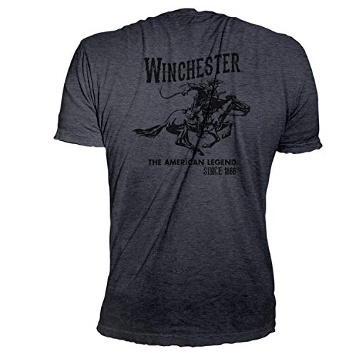 Printed T-shirts Screen - Winchester Official Men's Vintage Rider Graphic Printed Short Sleeve T-Shirt (2XL, Dark Heather)