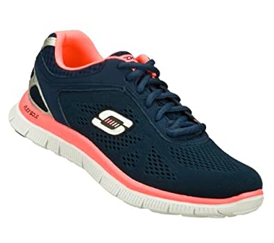 Skechers Flex Appeal Love Your Style Womens Lace Up Athletic Sneakers Navy/Hot Pink 6.5