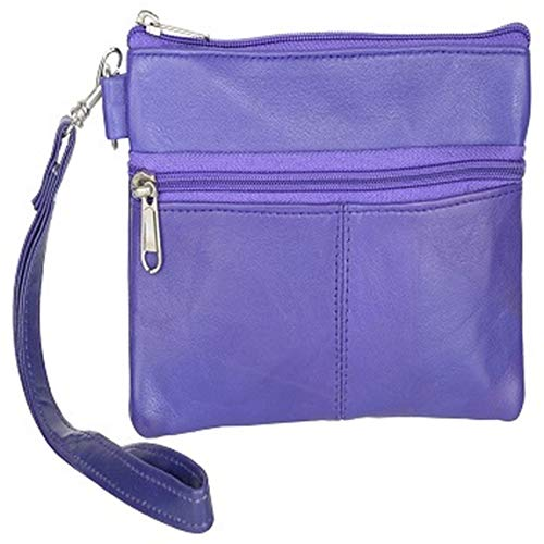 LEATHERS OF INDIA Women's Lamb Skin Leather Wristlet Bag 12X8X1 cm Blue ()