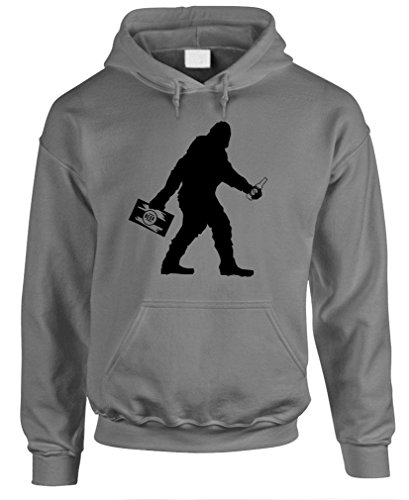 - The Goozler Sasquatch Bigfoot with Beer Funny Party - Mens Hoodie, XL, Charcoal