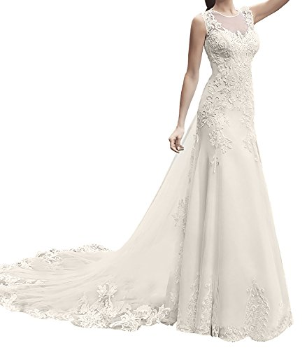 Appliqued Chapel Train - UTAMALL Long Sleeveless Satin Wedding Dress Chapel Train Lace Appliqued Bridal Gowns