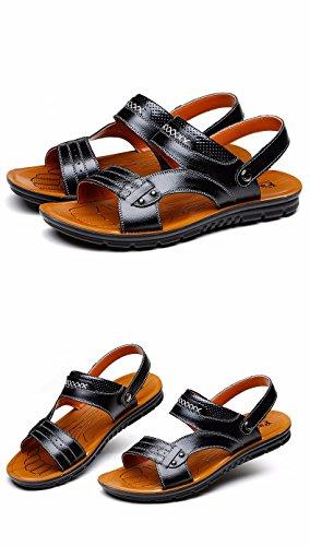 Sommer Männer Sandalen Echt Leder Freizeit Strand Schuh Männer Breathable Jugend Flip Flop Männer Trend Dual Gebrauch, schwarz, UK = 7,5, EU = 41 1/3