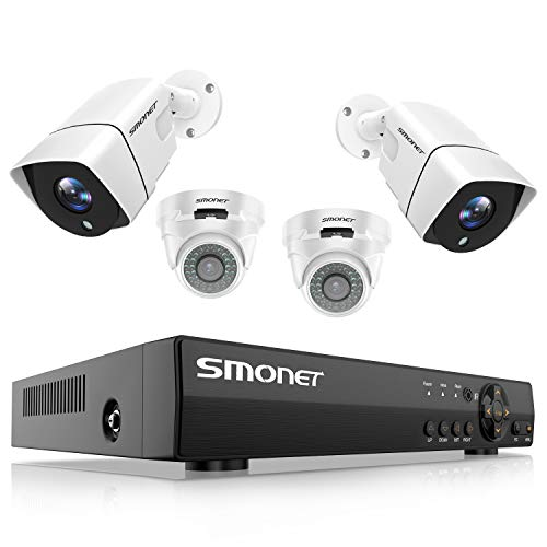 【2019 New】 1080P Security Camera System,SMONET 8-Channel 5-in-1 Outdoor CCTV Camera System(1TB Hard Drive),4pcs 1080P(2MP) Home Security Cameras,Super Night Vision,P2P,Free APP,Easy Remote Review
