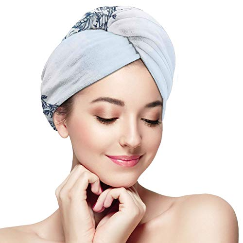 Quick Dry Hair Wrap Towels Turban,Circular Ornamental Occult With Ethnic Floral Details Spirit Of Universe Zen Nature Image,Absorbent Shower Cap (Pub At The End Of The Universe)