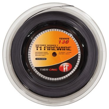 Tier One T1-Firewire Co-polyester Tennis String (Black, 16 gauge (1.30 mm) - 200 m reel)