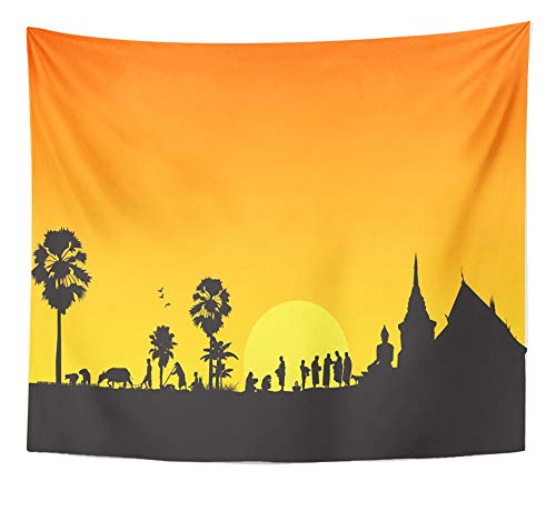 Emvency Tapestry Artwork Wall Hanging Thailand Thai Countryside Buddha Skyline Asia Silhouette Temple Field Merit 50x60 Inches Tapestries Mattress Tablecloth Curtain Home Decor Print by Emvency
