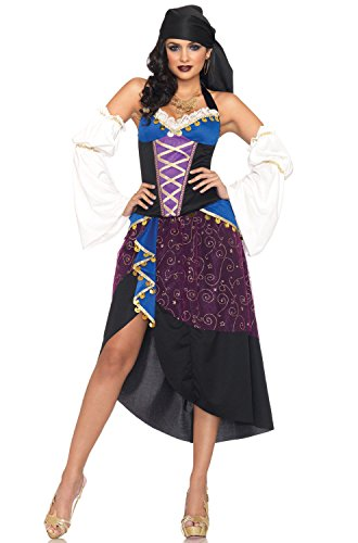 Leg Avenue Women's 4 Piece Tarot Card Gypsy Costume, Purple/Blue, Medium