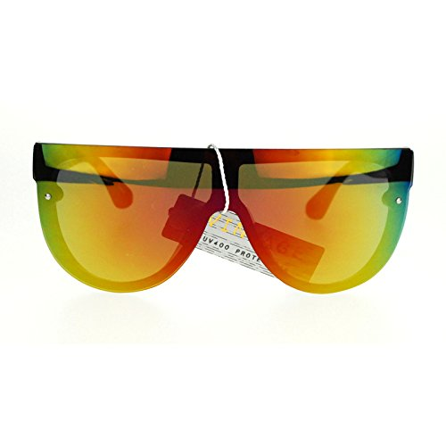 Unisex Futuristic Full Rimless Orange mirrored Mirror Lens Flat Top Celebrity - Mirror Sunglasses Orange
