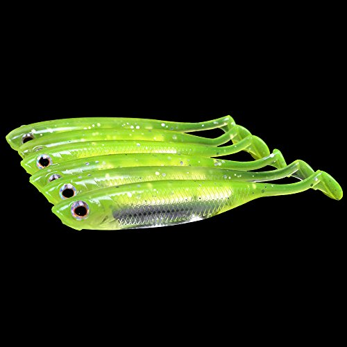 Bait Soft (Dr.Fish Lot 6 Soft Plastic Fishing Lures Swimbaits Shad Grub Perch Bass Crappie Fishing Lures)