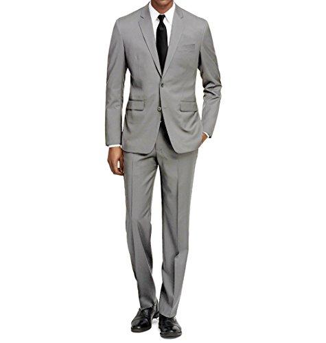 40s Suit - MDRN Uomo Men's Slim Fit 2 Piece Suit, Light Grey, Size 46R/40W