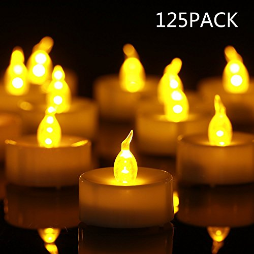 Tea Light Flameless LED Tea Lights Candles Flickering Warm Yellow 100+ Hours Battery-Powered Tealight Candle. Ideal for Party, Wedding, Birthday, Gifts and Home Decoration (125)]()