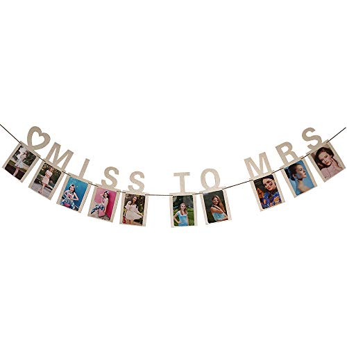 AMSKY Photo Clip String,Miss to Mrs Photo Clips Bachelor Par