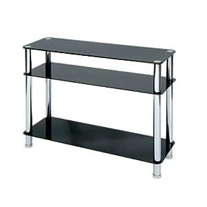 Levv - Mesa consola (cristal con patas cromadas), color negro